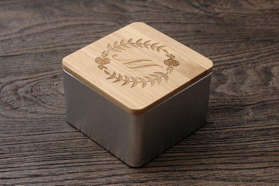 Personalized Tea Box Custom Wooden Tea Storage Personalized Bamboo Storage Bin Personalized Coffe Tea Box Custom Metal Tea Storage