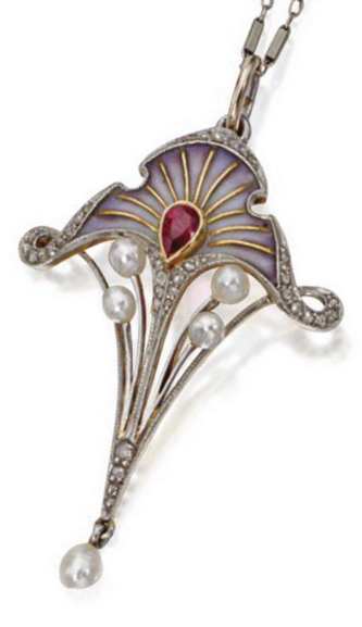 Art Nouveau plique-à-jour enamel gem-set pendant, circa 1900. The stylised floral motif decorated with lavender plique-à-jour enamel, centring a pear-shaped ruby, further set with small rose-cut diamonds and five pearls, mounted in 18 karat gold and platinum, supported on a white gold chain. #ArtNouveau #pendant