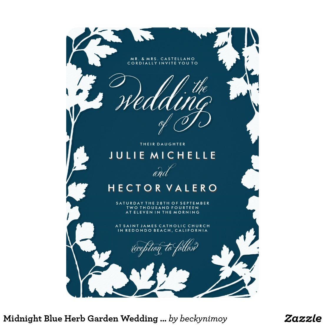 Midnight Blue Herb Garden Wedding Invitation | Love <3 | Pinterest ...
