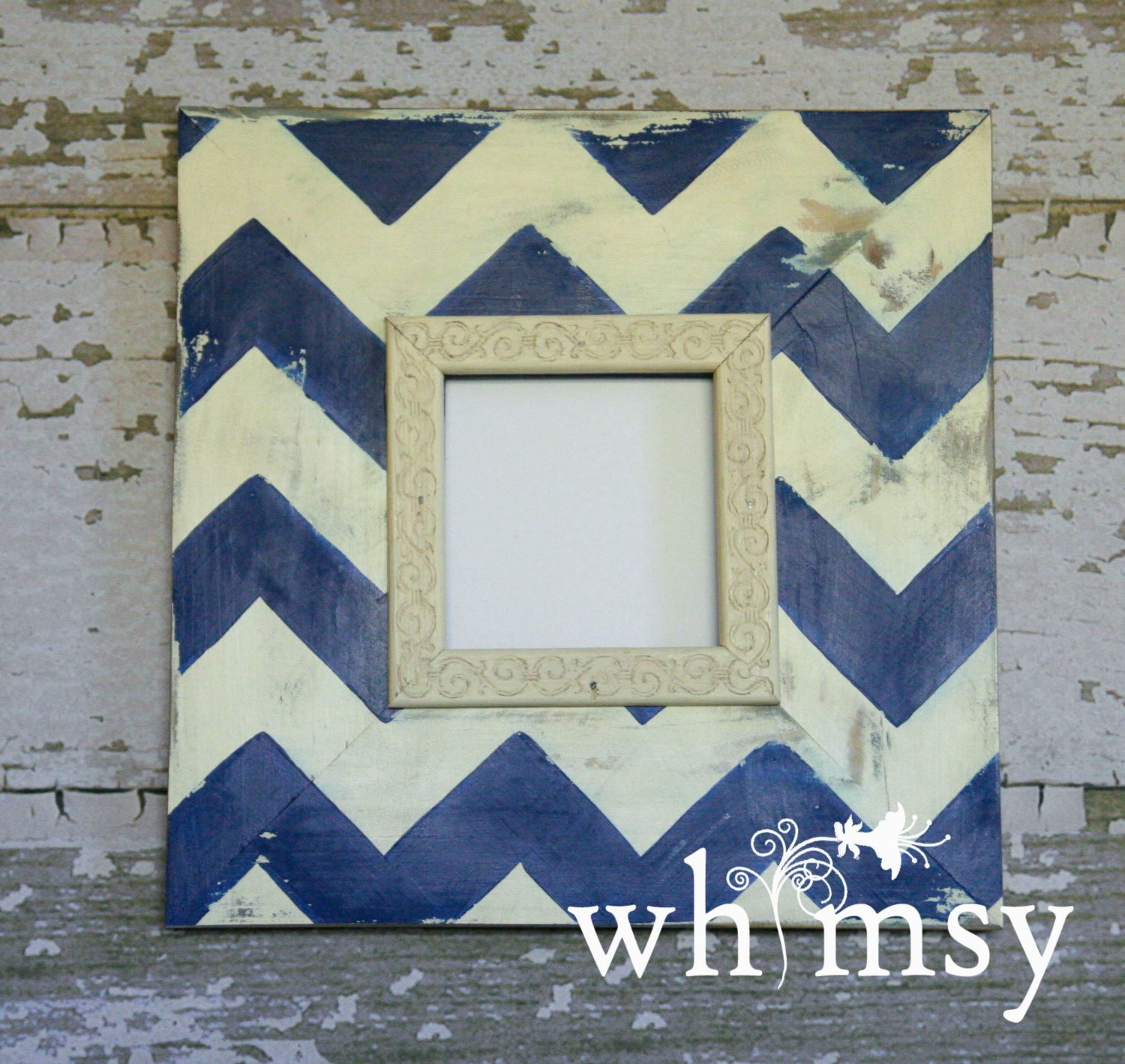 Handmade Solid Wood Picture Frame Chevron Custom Distressed 4x4 ...