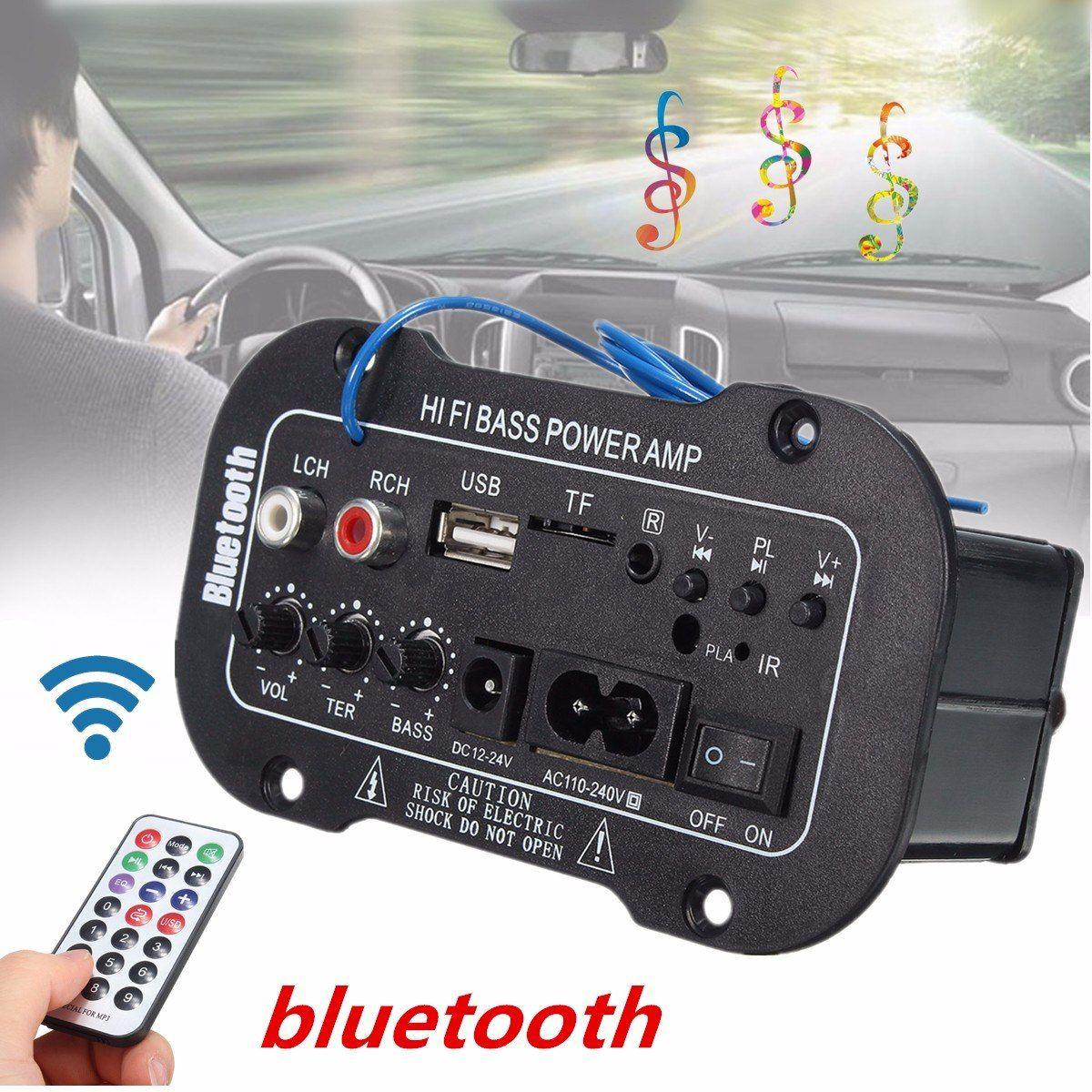 New Universal Bluetooth Amplifier Board Speaker Usb Fm Radio Tf Player Subwoofer Diy Amplifiers For Motorcycle Car Home T Car Subwoofer Car Audio Diy Usb Radio
