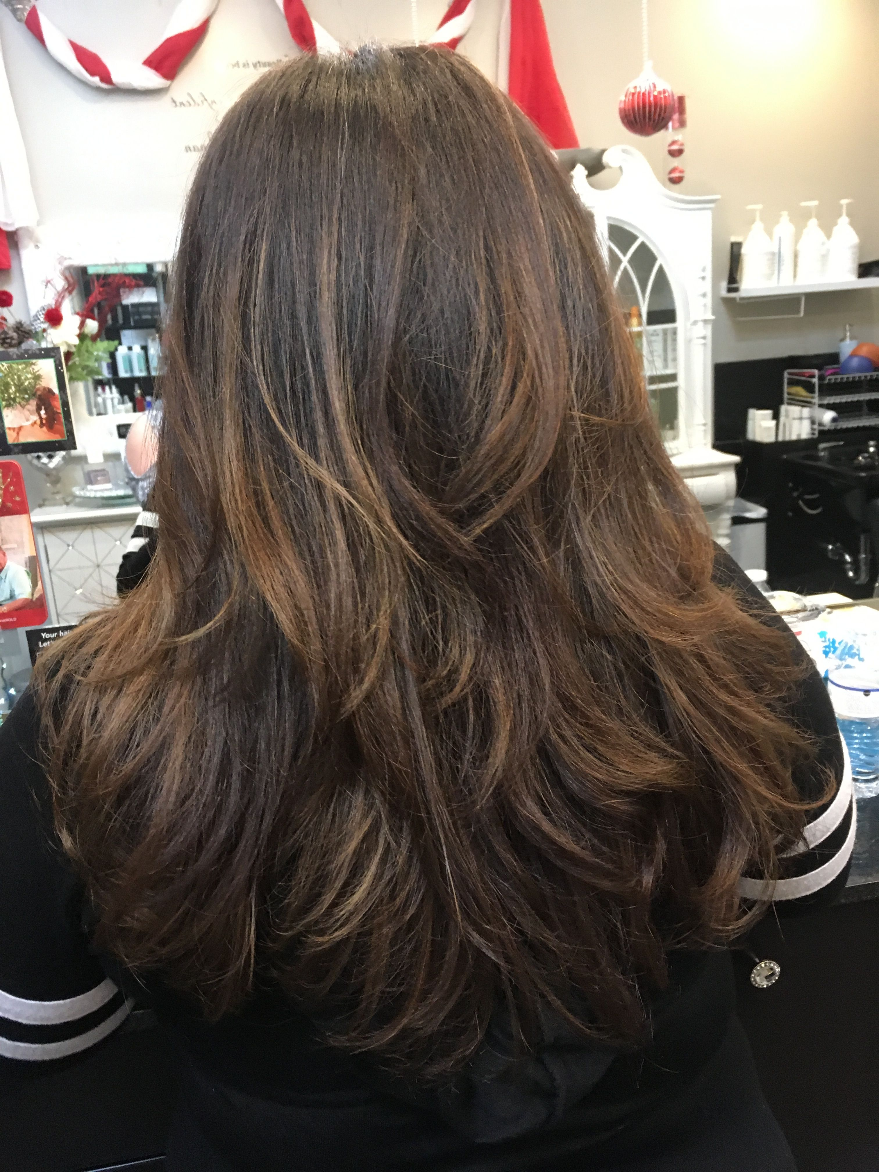 Haircolor Highlights Caramel Chocolate Longhairstyles Layers Blowout Long Hair Styles Beauty Hair Styles