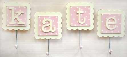 Letter Wall Hooks in Pink - Set of 2