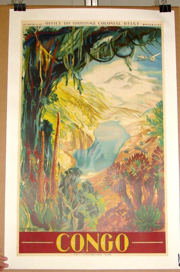 Vintage poster of the Congo ……re pinned by Maurie Daboux ♪ ♪