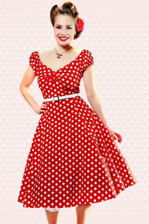 9ea8f22ed183d2 50s Dolores Doll dress Red White polka swing dress in 2019 ...
