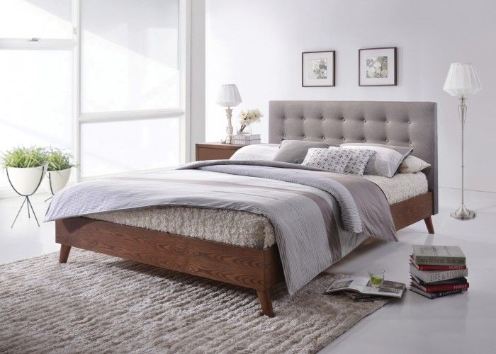 Gino Grey Double Bed Upholstered Bed Frame Upholstered Platform