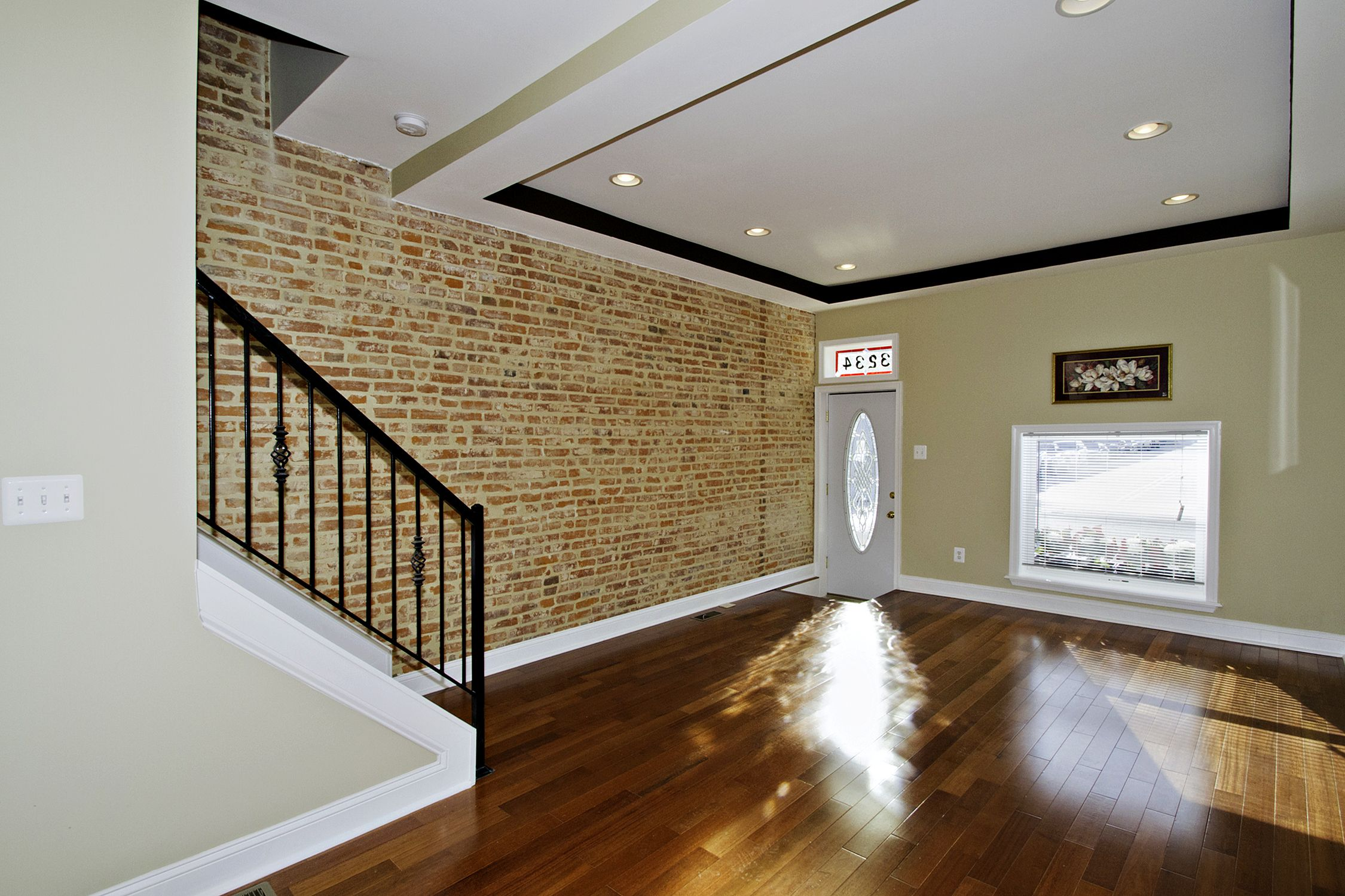 tray ceiling recessed lighting | entrance exposed brick tray ceiling ...