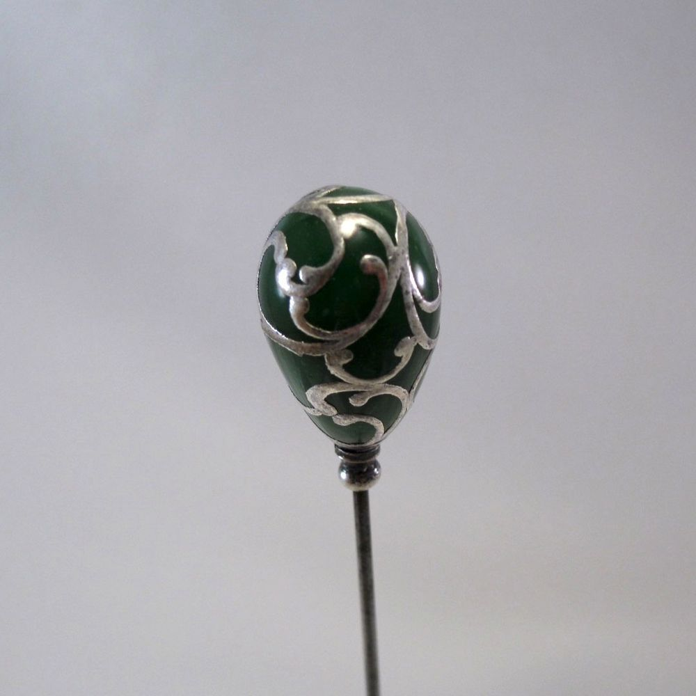 Antique Sterling Overlay Green Porcelain Hatpin Hat Pin, NR #AntiqueHatpin