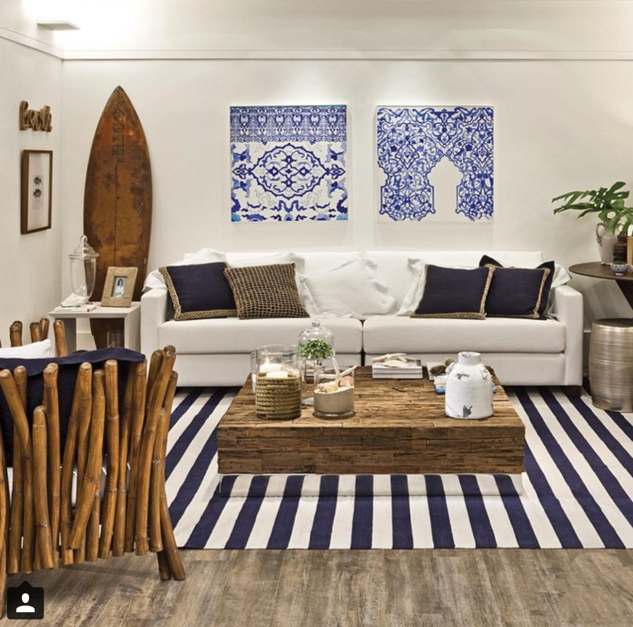 Sala de estar surf surista tapete listrado salas for Tapetes para sala de estar 150x200