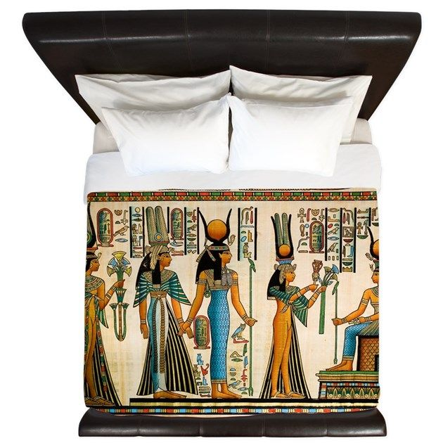 Ancient Egyptian Tomb Carving Egypt Artifact Hieroglyphics Bed Quilt Duvet Cover