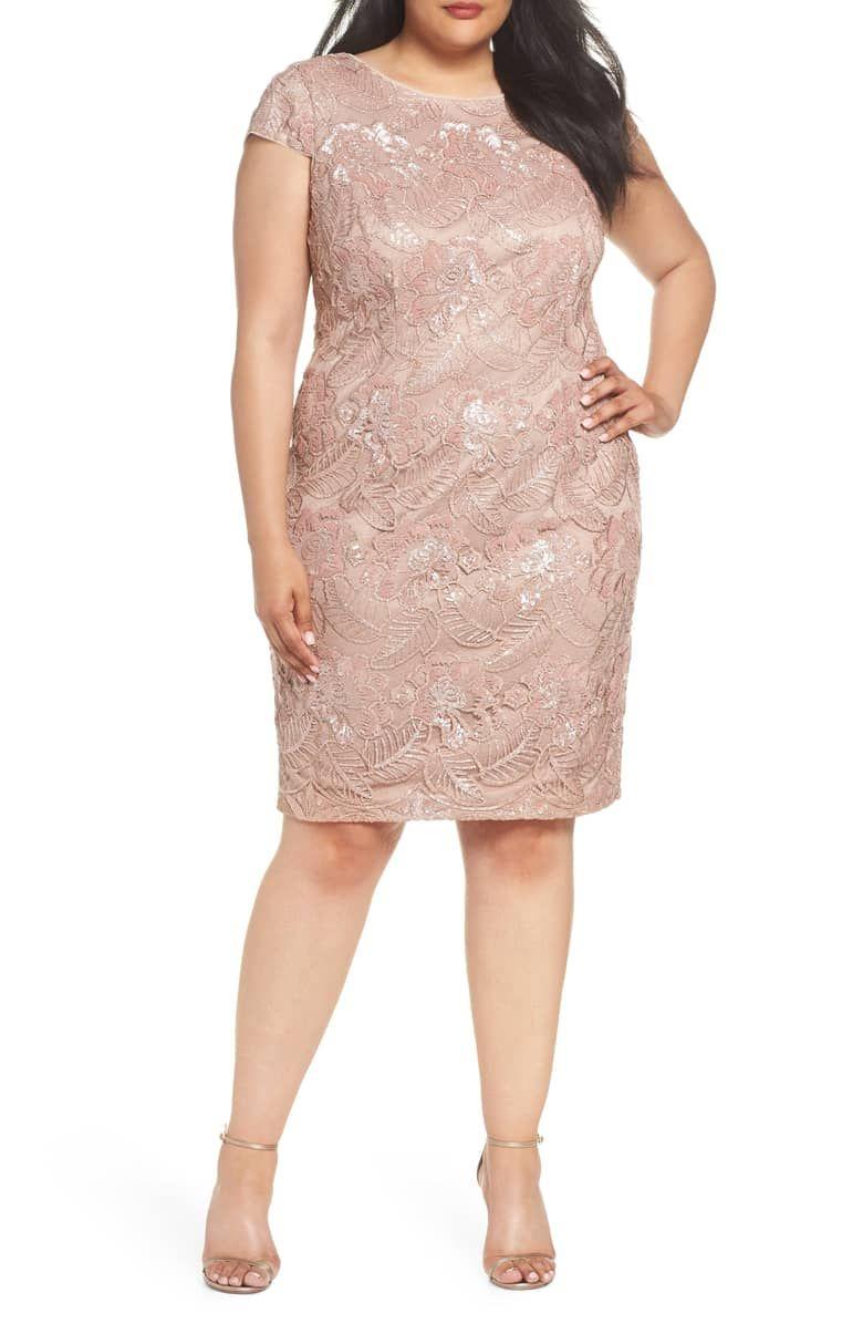 Alex Evenings Sequin Lace Cocktail Dress Plus Size Nordstrom Dress Plus Size Vestidos Plus Size Online [ 1196 x 780 Pixel ]