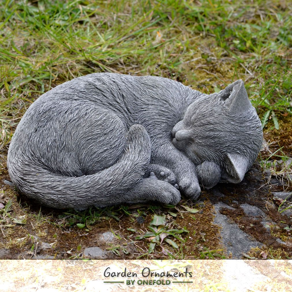Sleeping Cat Garden Ornament Feline