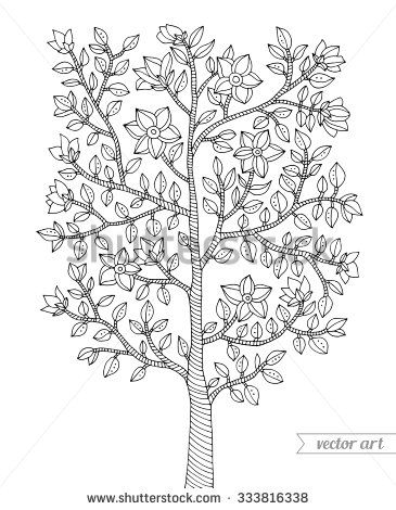 Forest tree, bush, flowers blossom, branch with leaves
