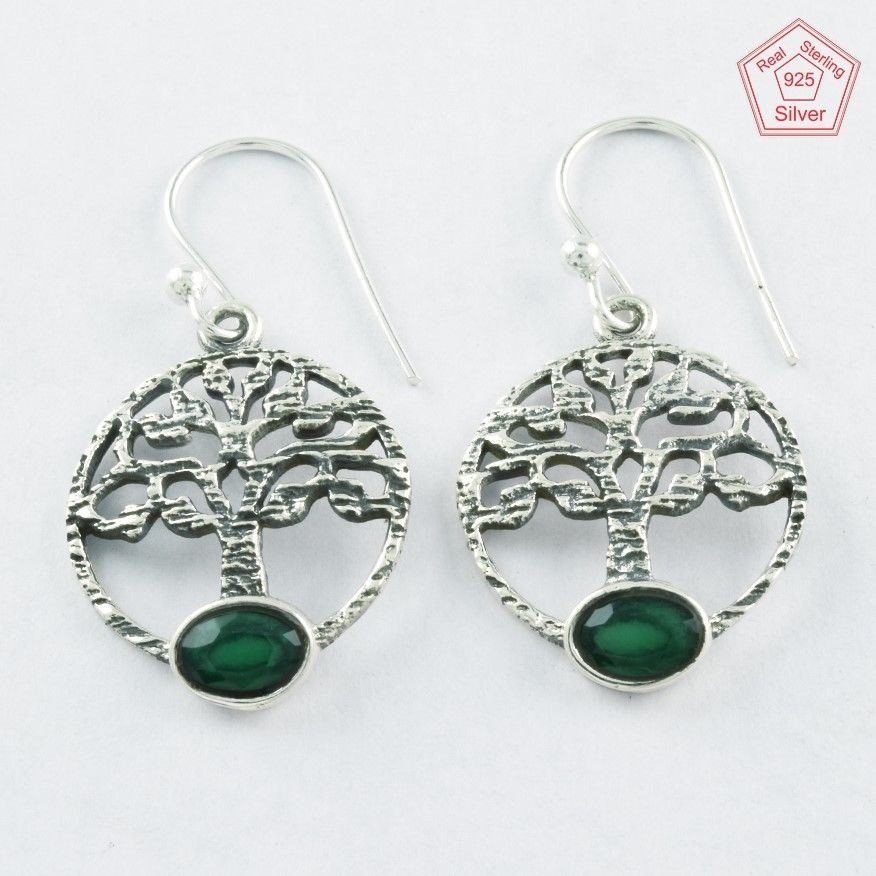 925 Sterling Silver Emerald Agate Stone Tree Of Life Earrings E4078 #SilvexImagesIndiaPvtLtd #DropDangle