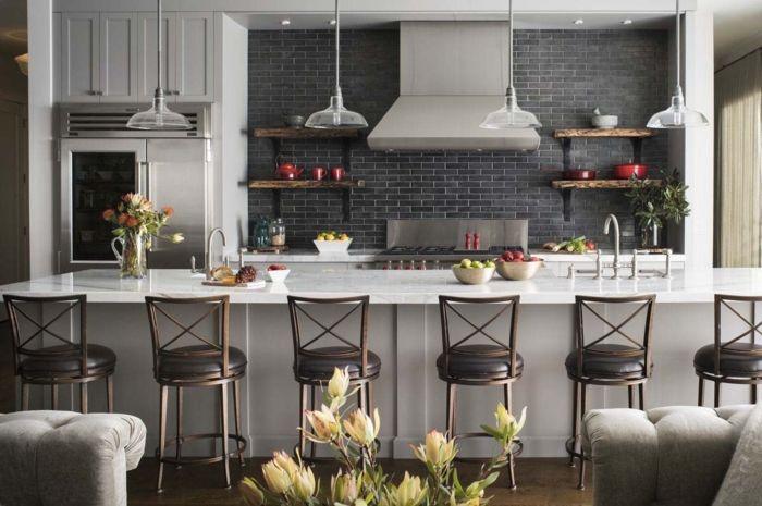 1001 ideas de decoraci n de cocina americana dise o de for Sillas para barra americana