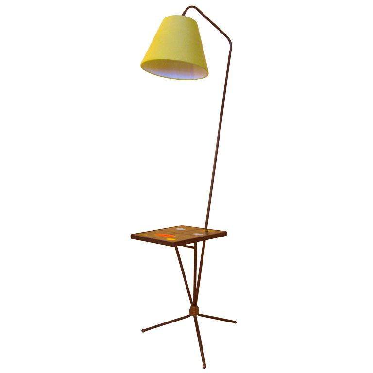 French 50s Floor Lamp By Pierre Guariche Vintage Floor Lamp Floor Lamp Floor Lamp With Shelves