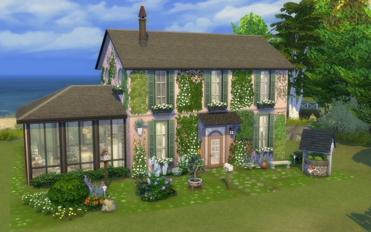 Rosa Haus Vorderansicht 1 Front Cottage House Rose View Cottage Cottage Front House Vorderansicht Viewsa Sims House Sims 4 Sims House Design
