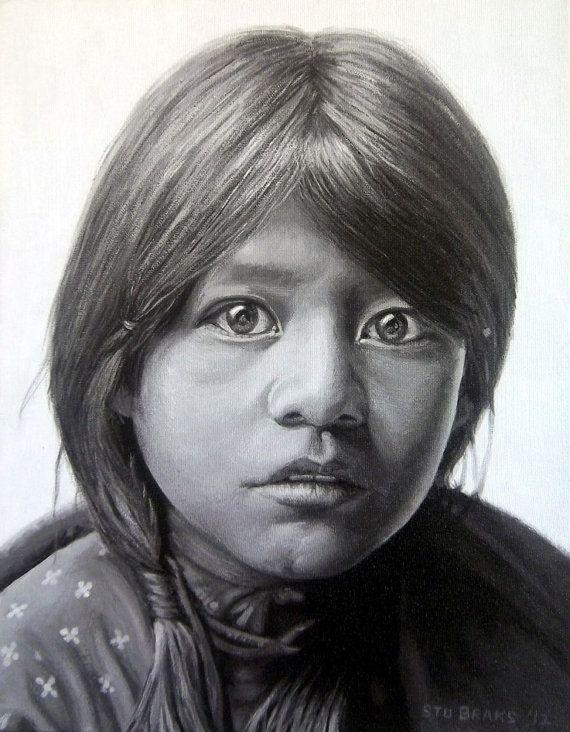 Acrylics Painting Canvas Fine Art Print Taos Girl by StuARTdrums, $165.00
