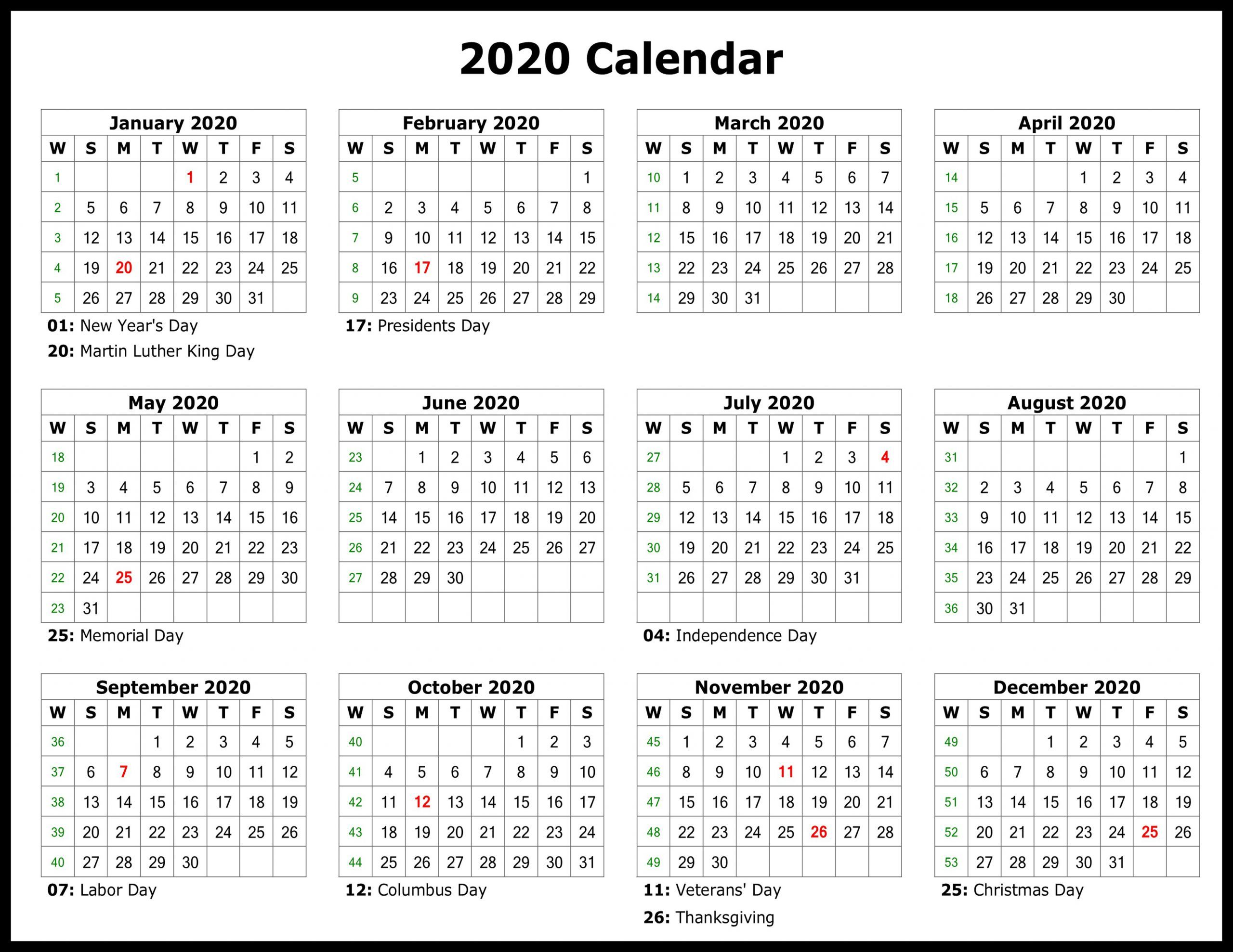 12 Printable Calendar 2020 Printable Yearly Calendar Free Printable Calendar Templates Yearly Calendar Template