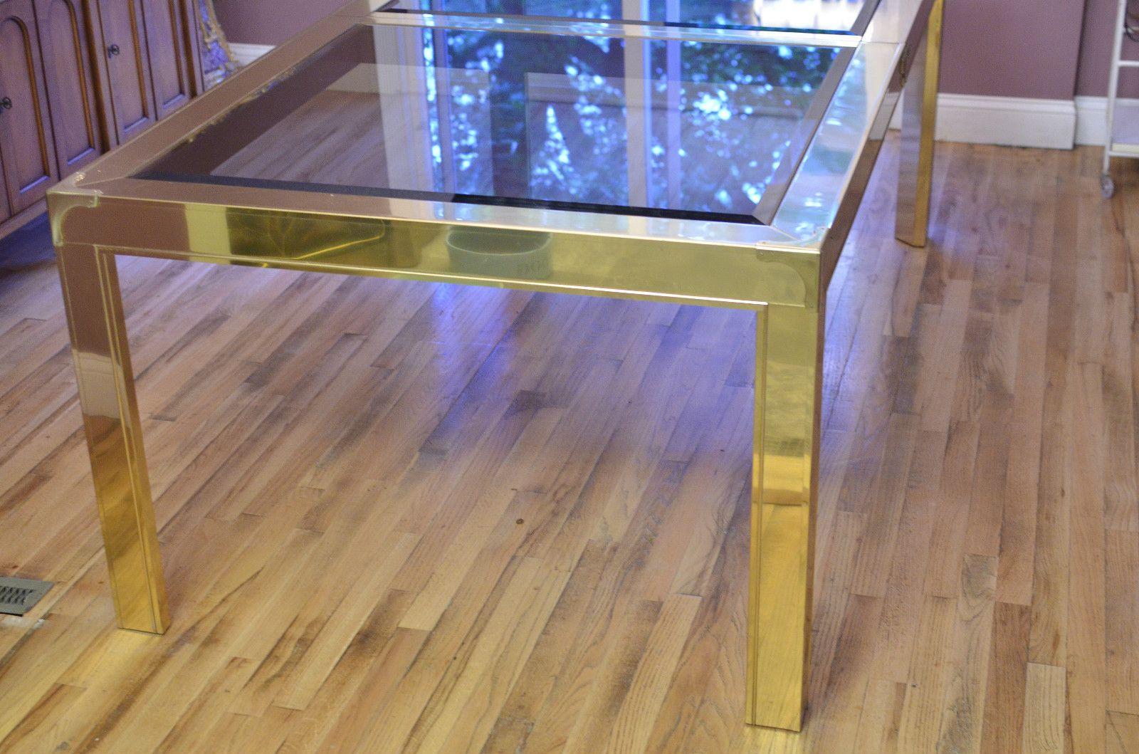 Mastercraft brass dining table - Hollywood Regency Mastercraft Furniture Brass Dining Table Glass Mid Century