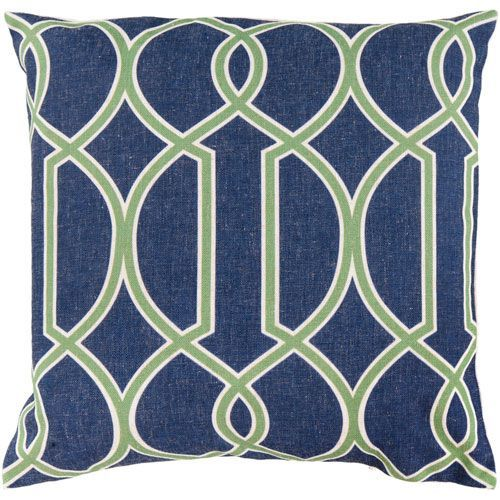 22-Inch Square Peridot, Blue Corn, and Peach Cream Patterned Pillow Cover with Down Insert