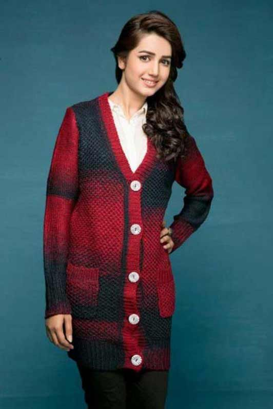 4b1b4823d best red and black long latest winter sweater designs 2017 for pakistani  girls by bonanza