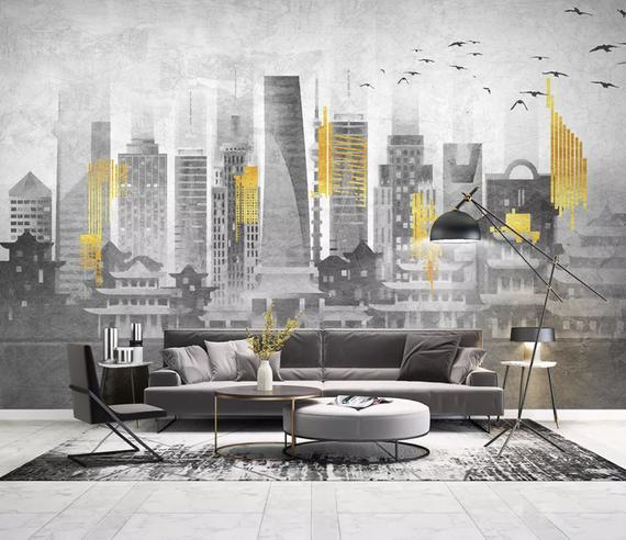 City Wallpaper Yellow City Light Wall Murals Monochrome Cityscape