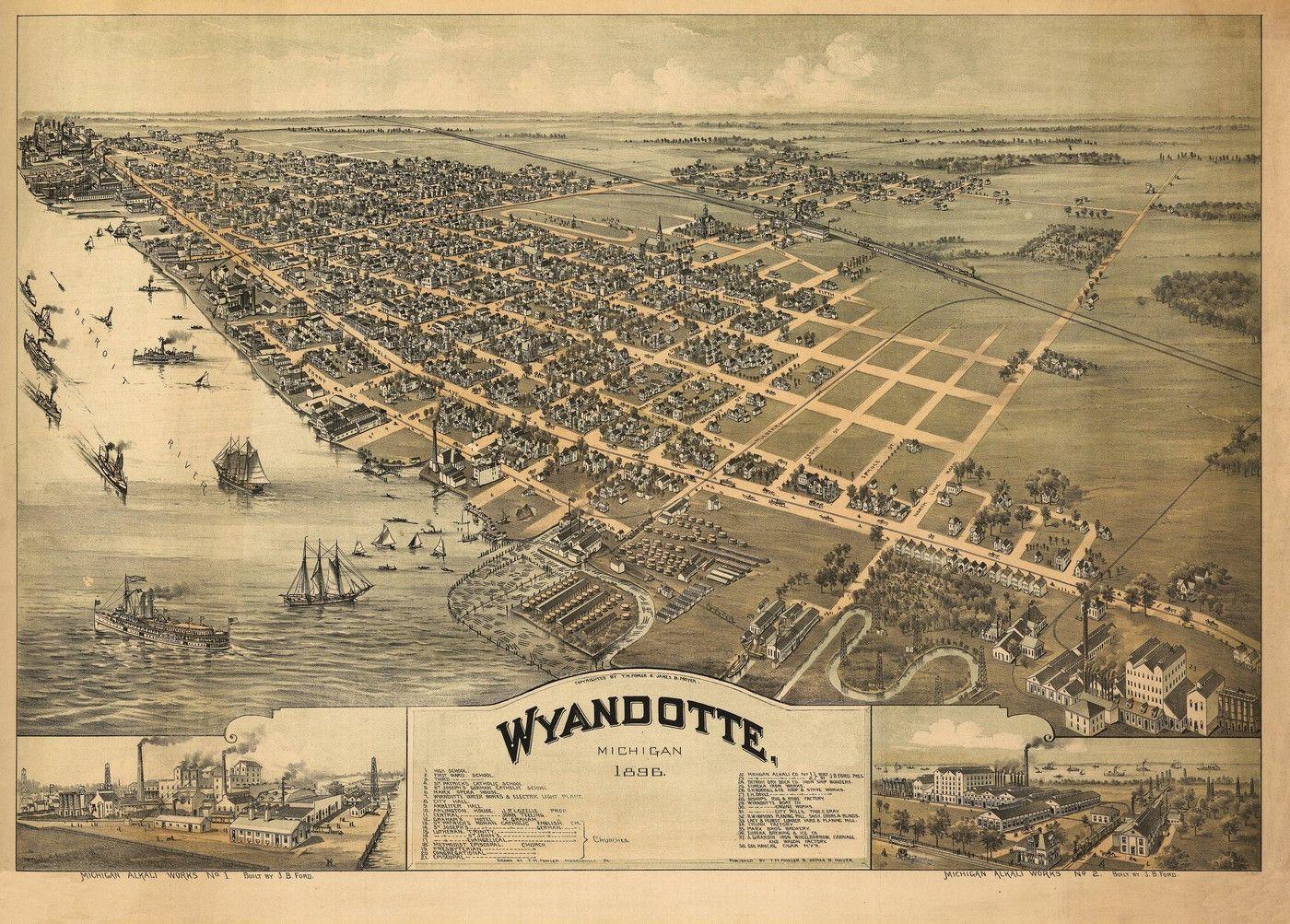 Historic map of wyandotte michigan 1896 wayne county