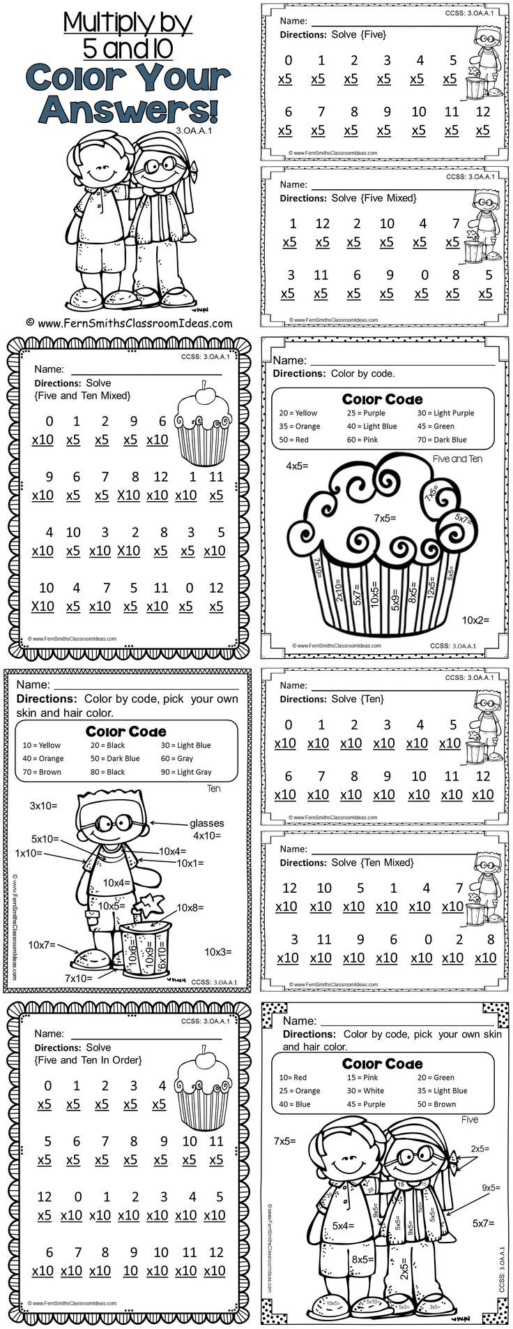 3rd Grade Go Math 4.2 Color By Numbers Multiply with 5 and
