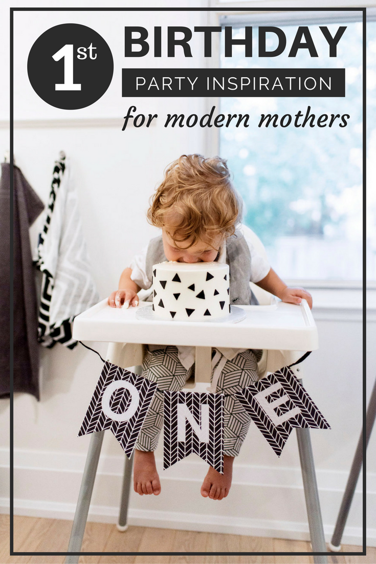 First birthday party inspiration for the modern kid with a black and
