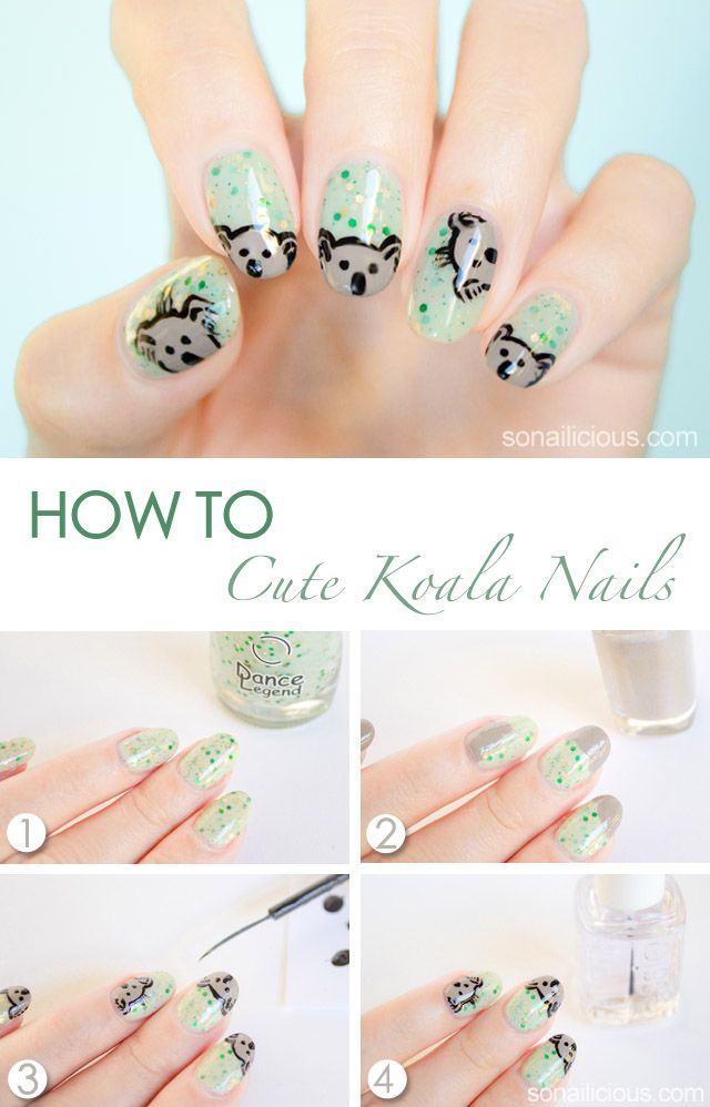 Cute Koala Australia Day Nails Tutorial Art Tutorials Tutorials