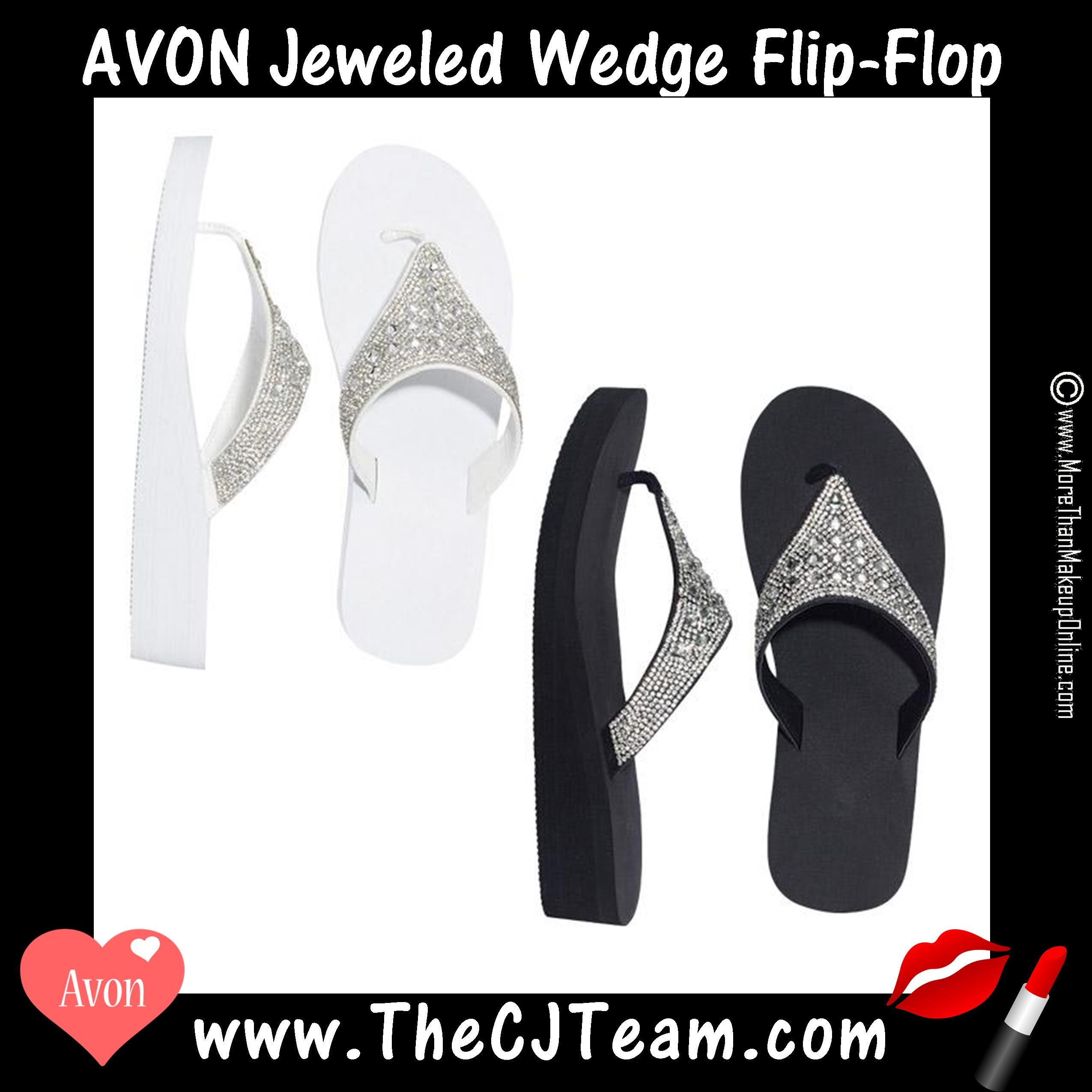72bc25ea1acd9 Jeweled Wedge Flip-Flop. Avon. Dress up or dress down with flip-flops that  match any occasion. Whether you re hitting the beach or dining out