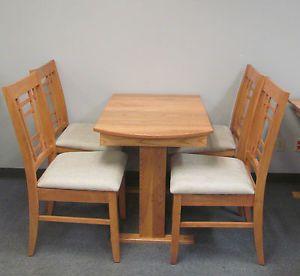 RV Hide Leaf Dinette Table Folding Slat Storage Chairs Hardwood Stain Light Oak | eBay