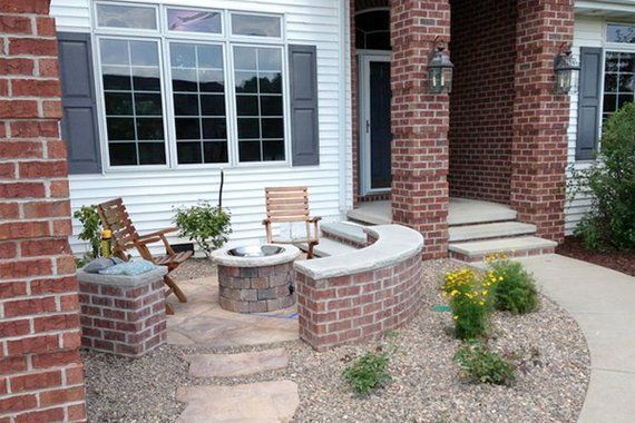 front yard fire pit -- a twist on the traditional front porch or ... - Front Yard Patio Ideas