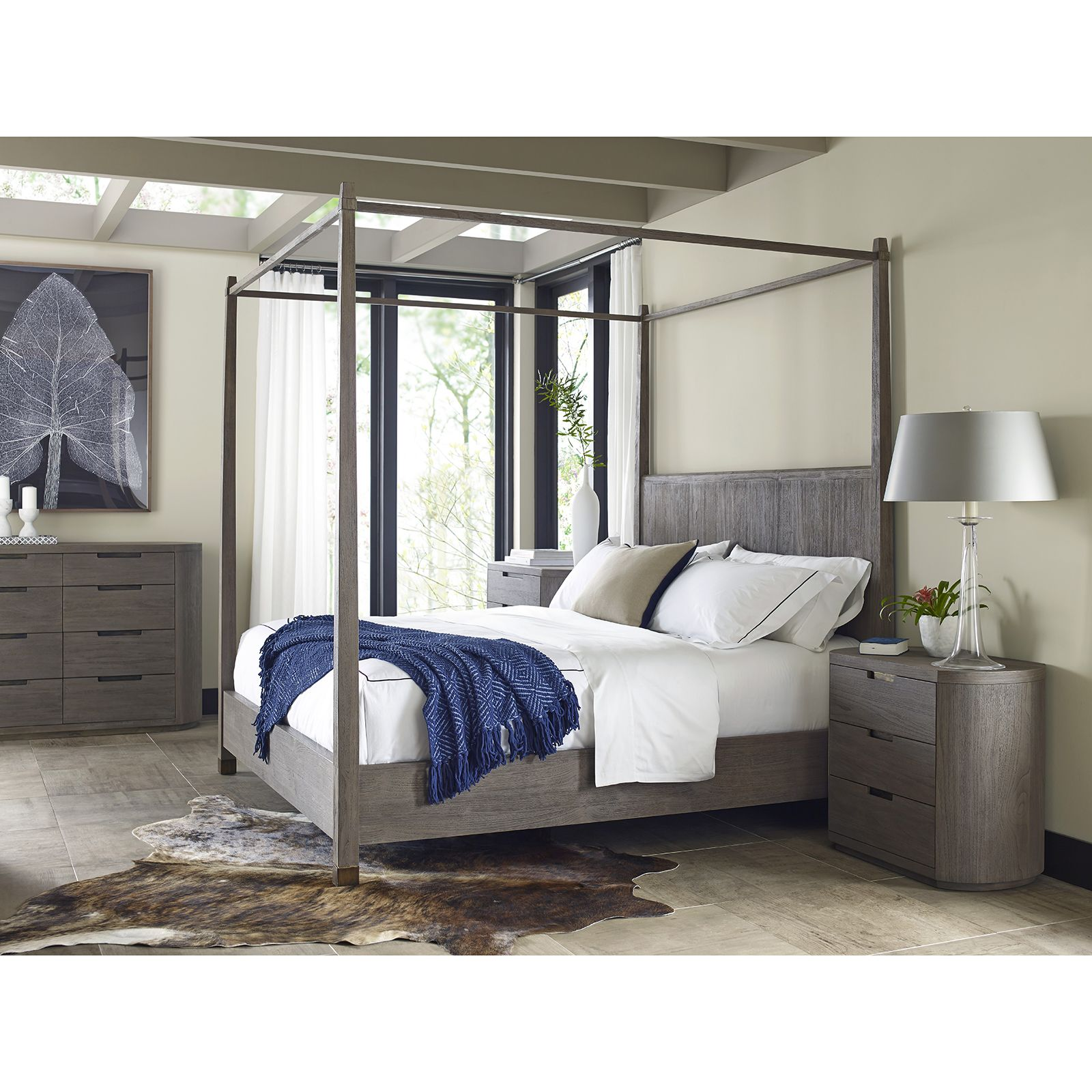silver bed canopy on Alba Rustic Coastal Sand Teak Wood Canopy Bed King Wood Canopy Bed Furniture Bedroom Sets
