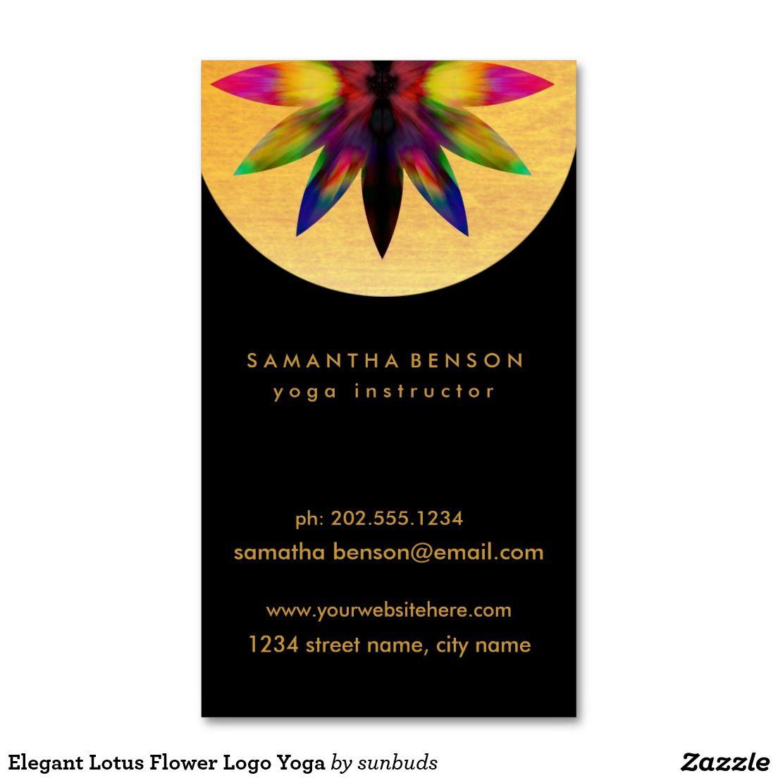 Elegant Lotus Flower Logo Yoga Business Card | Flower logo, Lotus ...