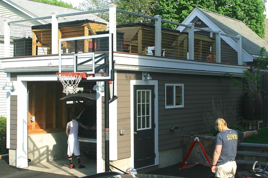 Rooftop Deck On Garage Roof Top Was Built And It Is