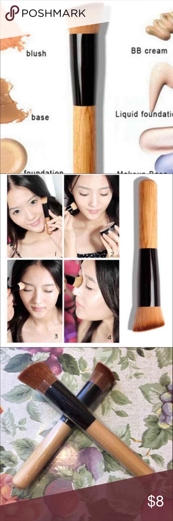 New 2pcs makeup brushes 2pcs Flat Top Foundation Angled