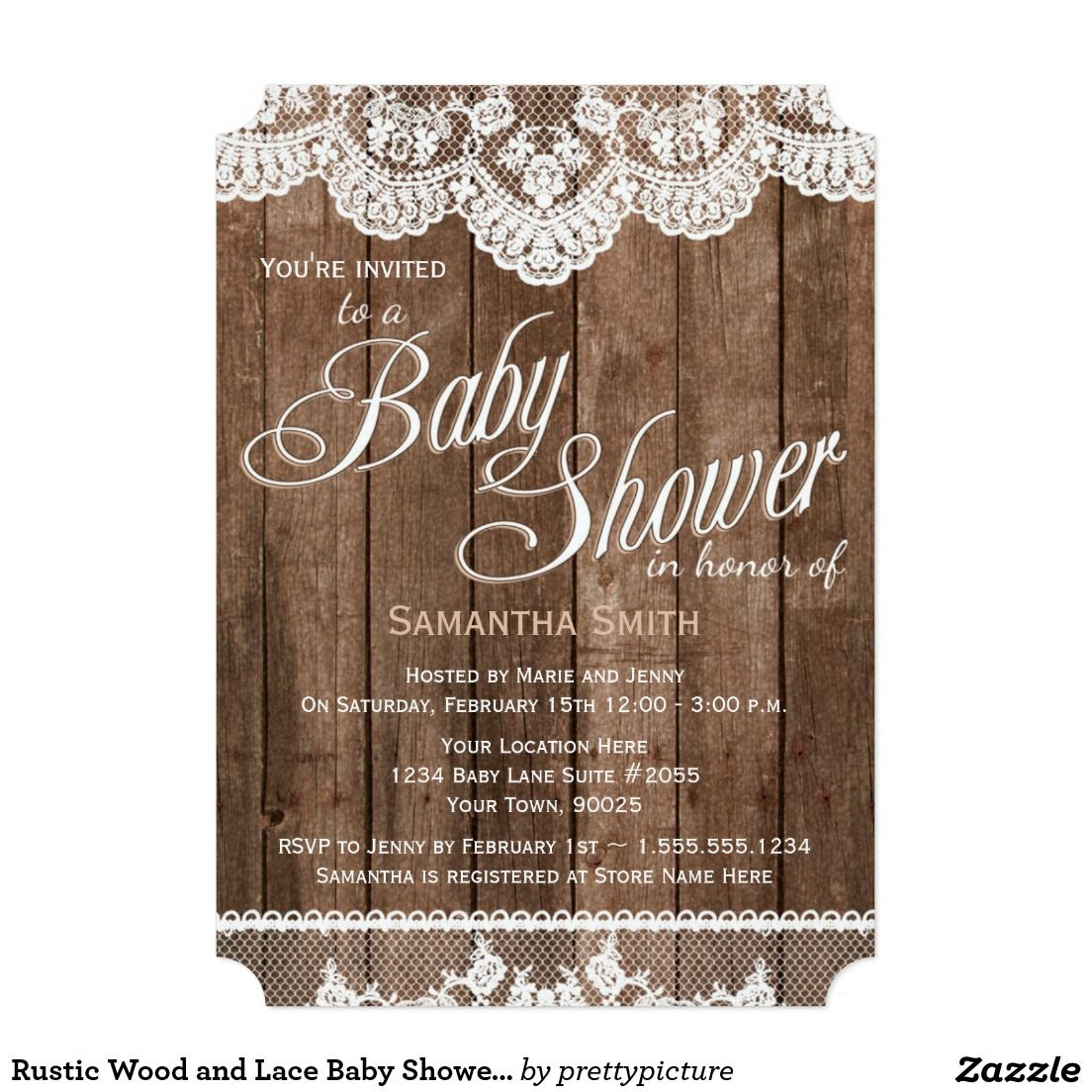 Rustic Wood and Lace Baby Shower Invitation | Lace baby shower ...