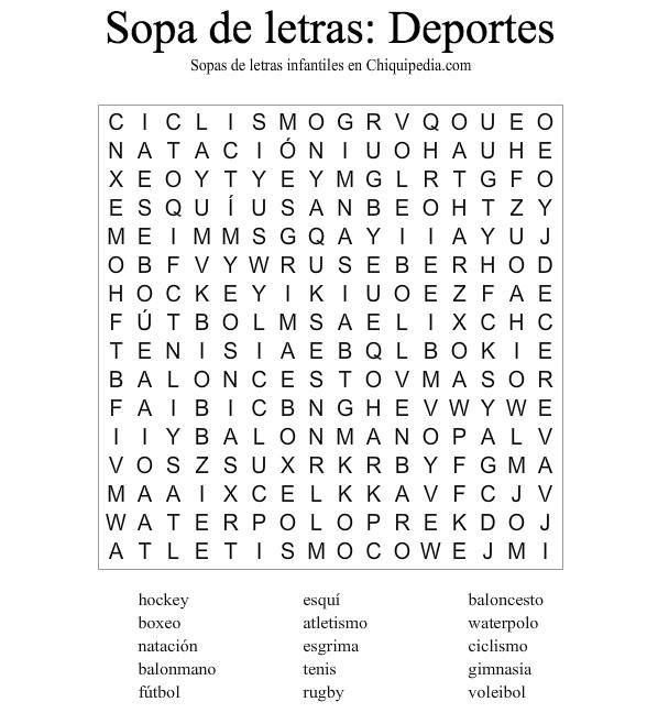 Sopa Letras Deportes Sopas De Letras Para Imprimir Gratis Sopa De Letras Dificil Sopa De Letras Faciles