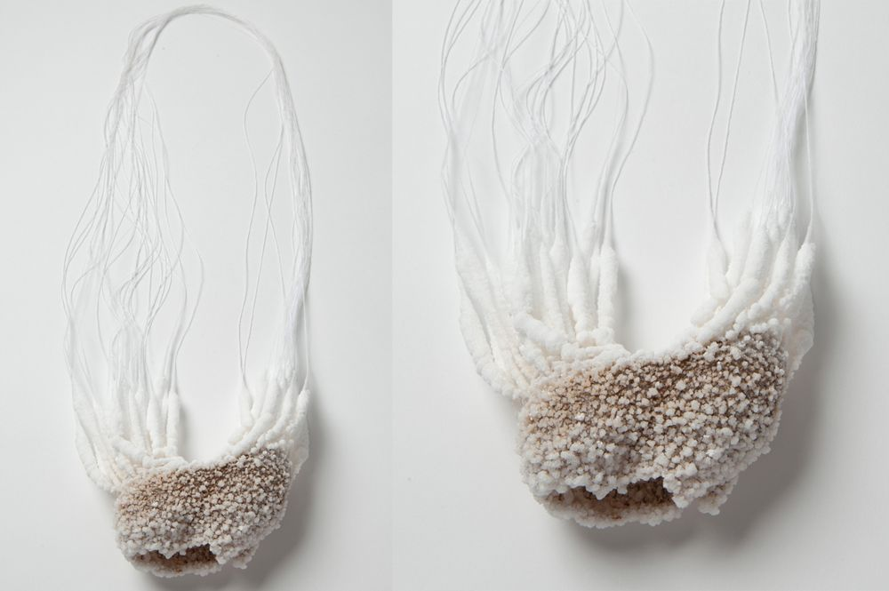 Naama Gergman - Salt Necklace 02. 2015. Salt, Iron Wire, Thread - details