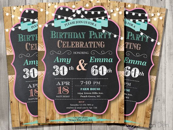 Adult joint birthday invitation chalkboarduntry chic shabby adult joint birthday invitation chalkboarduntry by bydesignden filmwisefo