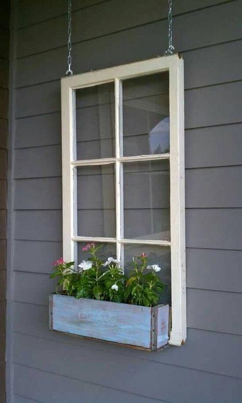 Holzfenster Blumenkasten - Fensterrahmen - antike Holzfenster - 6 Scheiben Holzfensterscheibe...