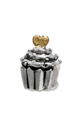 Belk Silverworks  Oxidized Two-Tone Cupcake Bead