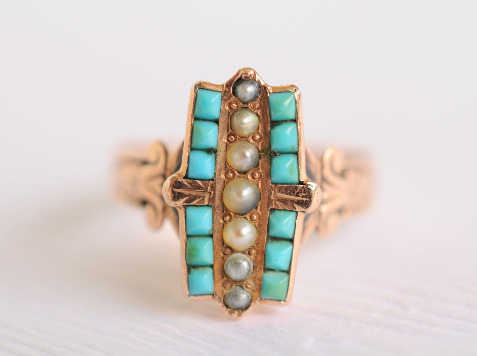 e r i n - a n t i q u e s: 1800s Victorian Turquoise & seed pearls ...