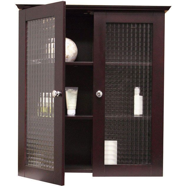 Wall Cabinet With Two Tempered Glass Doors Modern Bathroom Storage Cupboard Wood Eleganthomefashions Modern
