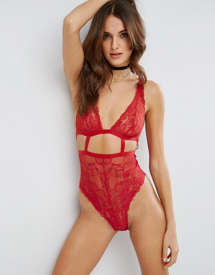 ASOS Gia High Apex Lace Cut Out Bodysuit - Red  ba50f20cb0f