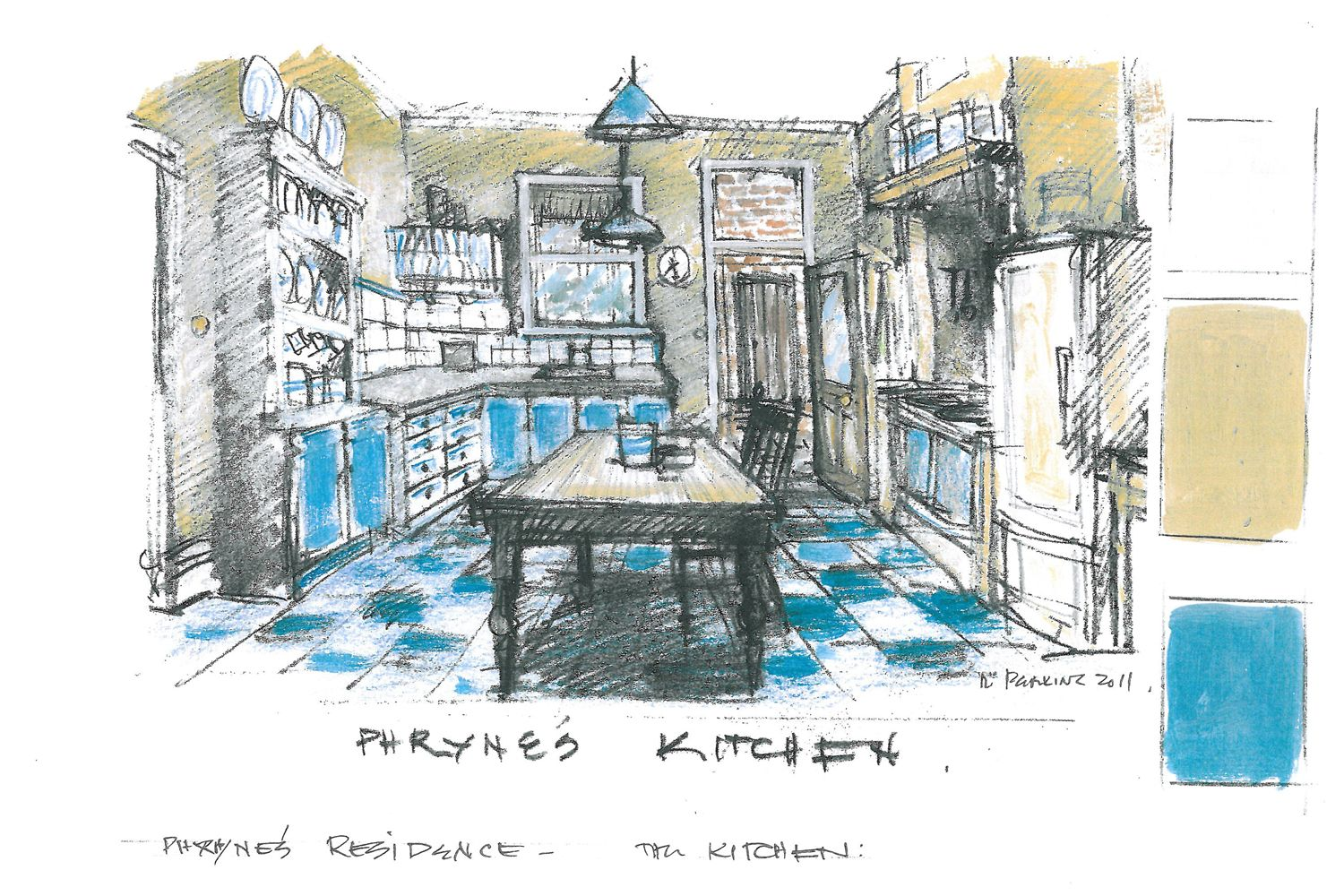 This is an art department sketch of Phryne\'s kitchen, where many ...