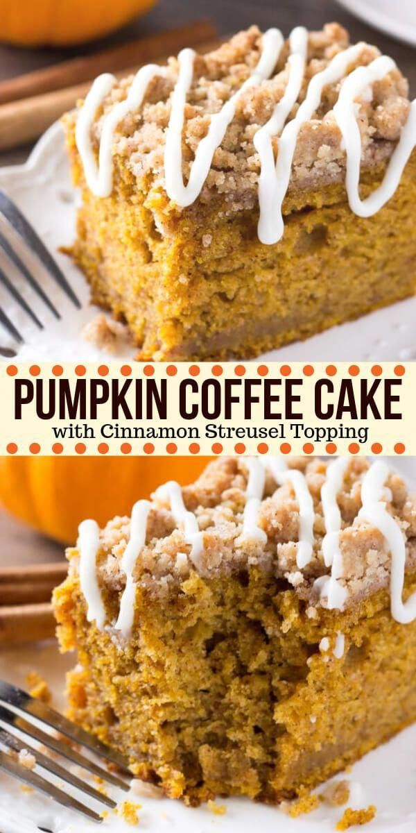 Pumpkin, spice & everything nice come together in this easy Pumpkin Coffee Cake with streusel topping. Made with sour cream so it's super moist - it's perfect for dessert or breakfast for fall! #pumpkin #fall #coffeecake #pumpkincoffeecake #thanksgiving #breakfast #dessert #baking #thanksgivingdessert #thanksgivingcakes