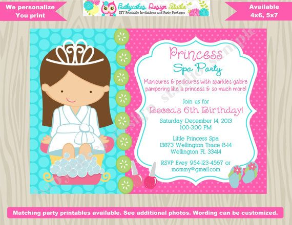 Princess Spa Party Invitation Princess Spa day by jcbabycakes – Printable Spa Party Invitations